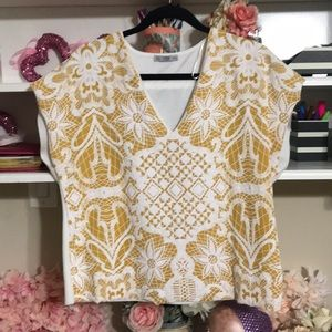 Unique Zara V-neck Woman's Top white with yellow